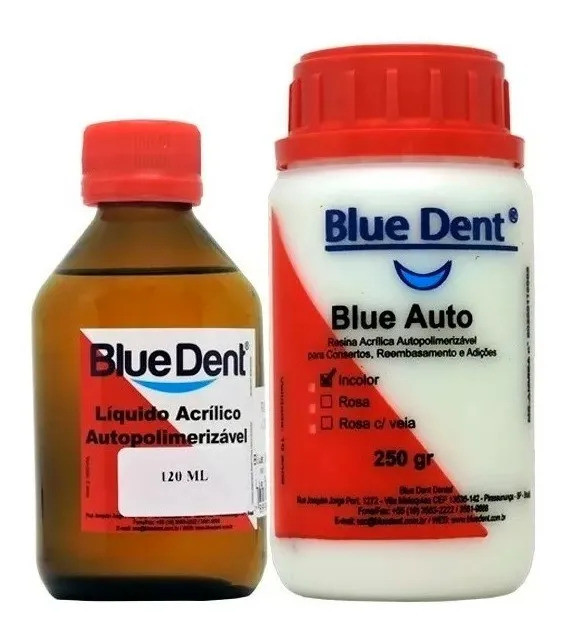 Resina Acrílica Blue Dent Kit 120ml + 250g Incolor