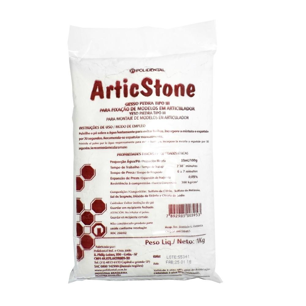 Gesso Pedra Articstone 1Kg Branco - Polidental