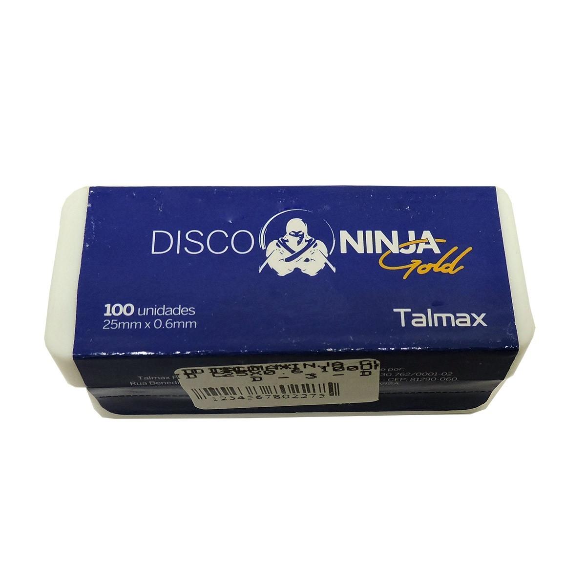 Disco Ninja Gold Talmax ø25 x 0,6mm - caixa com 100 unid