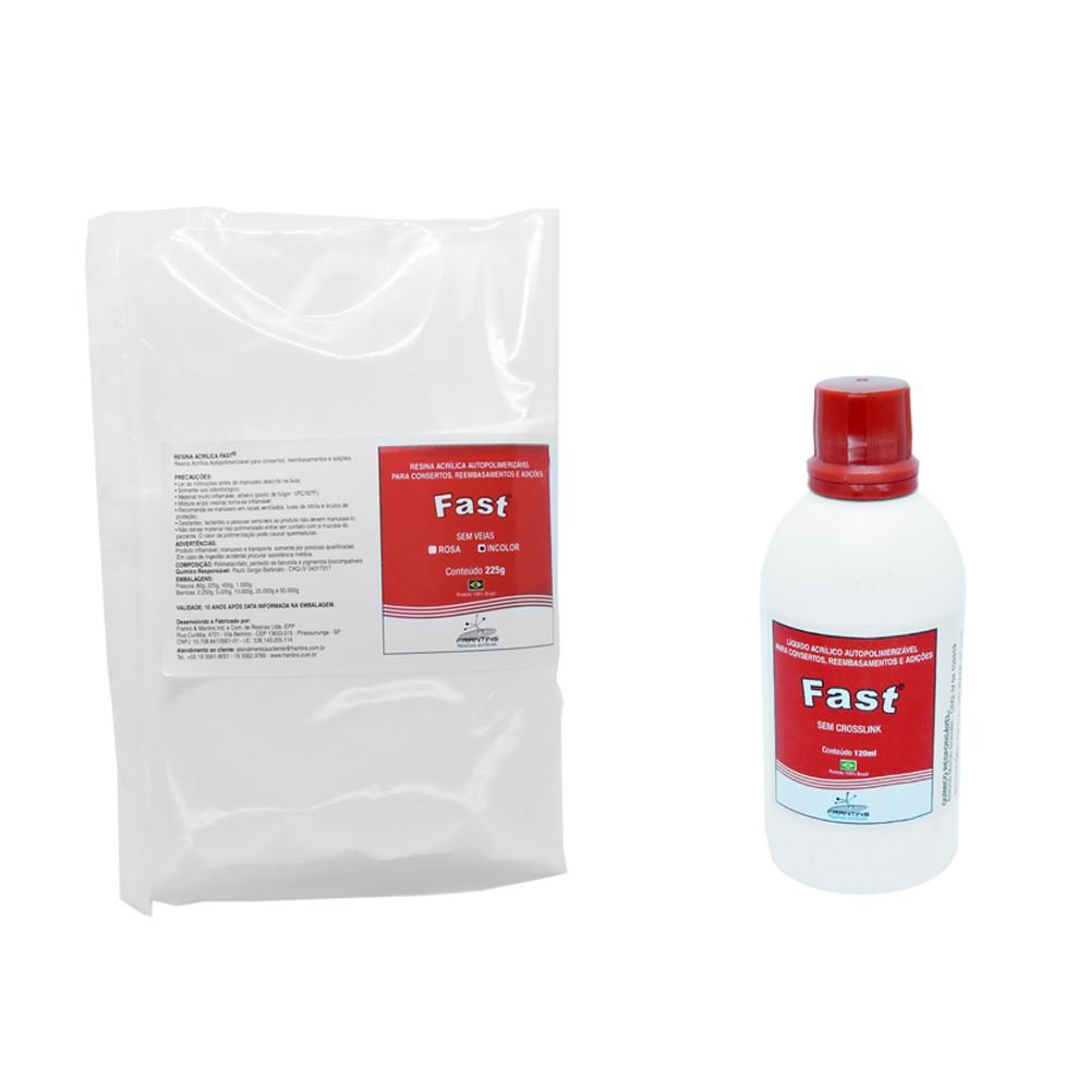 Resina Acrílica Autopolimerizável Fast  Frantins KIT 120ml + 225g Incolor