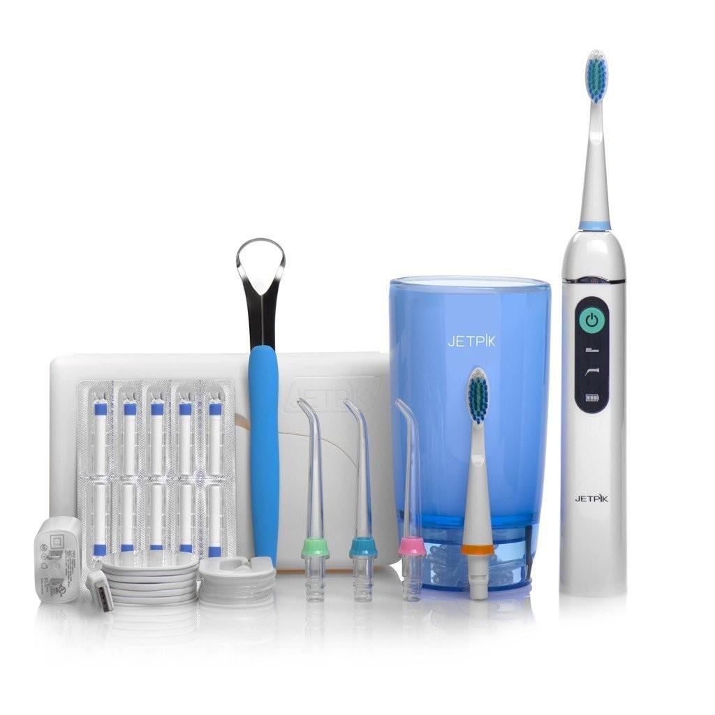 Irrigador Oral com fio dental JETPIK JP200 + Escova Ultra sônica Modelo ELITE bivolt - acompanha copo reservatório