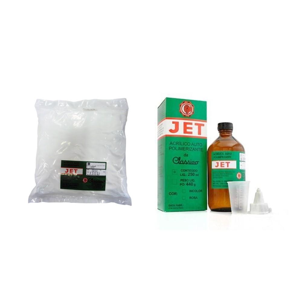 Resina Acrílica Autopolimerizável JET Incolor - Kit - 250ML + 440G