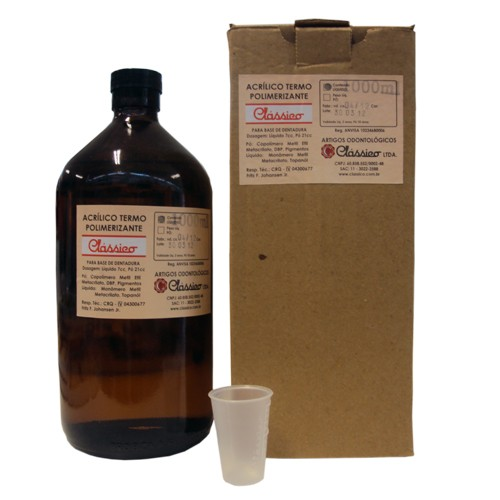 Resina acrílica termopolimerizável Clássico 1000mL - resina de lenta