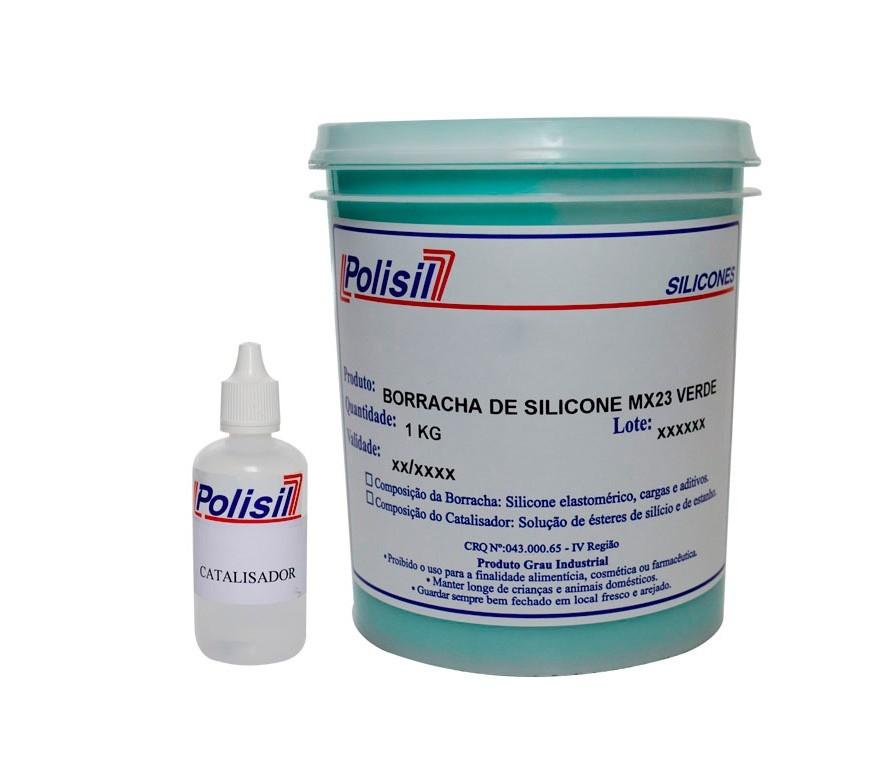 Kit Silicone Duplicador Polisil Verde (Massa 1kg e Cat 50ml)