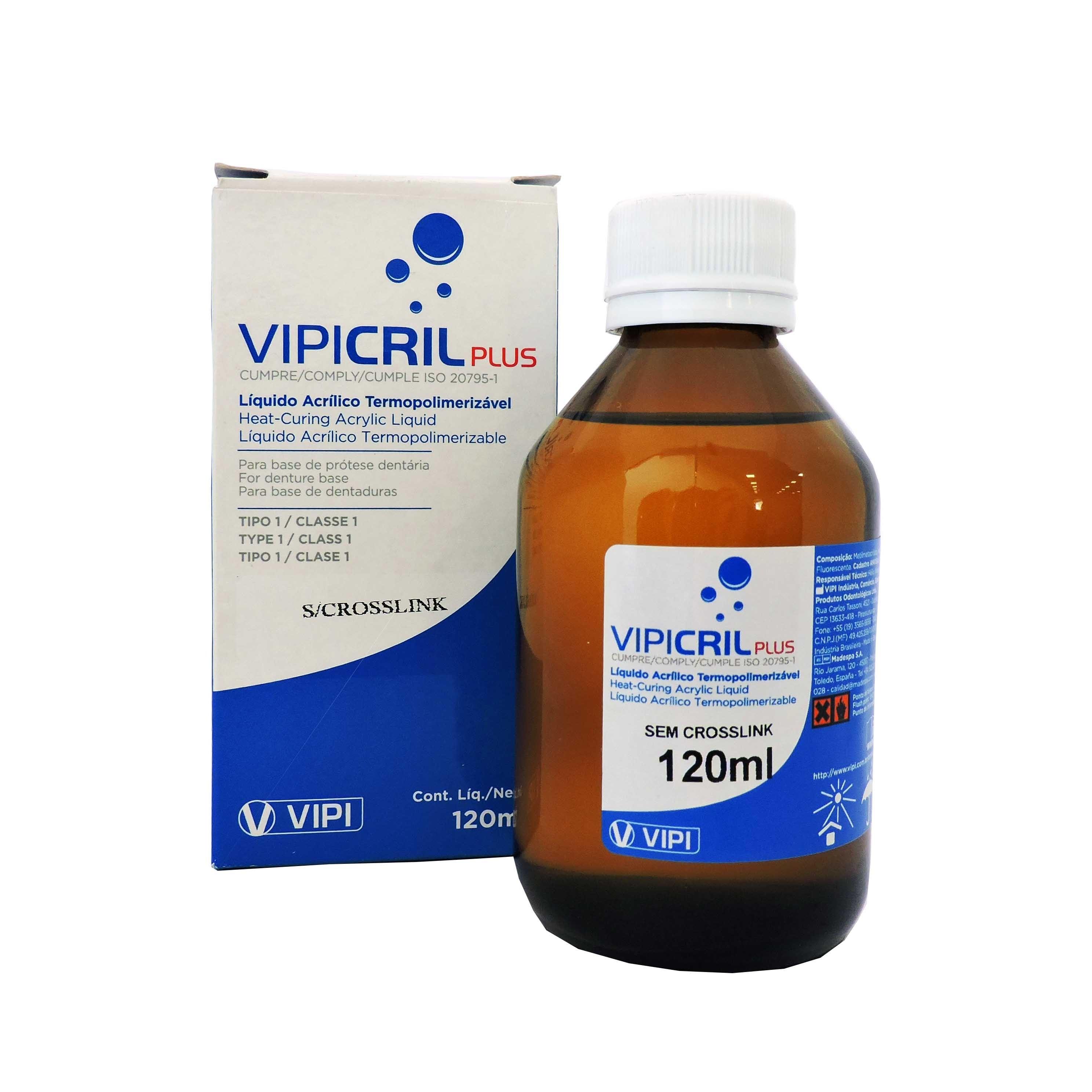 Resina Acrílica Termopolimerizável Vipi Cril Plus Sem Crosslink 120ml - resina de lenta